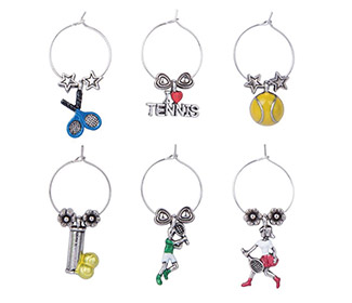 Game, Set, Match! Tennis Wine Charms (6x)
